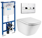 Комплект: GAP Clean Rim унитаз подвесной, PRO инсталяция для унитаза, кнопка, сиденье твердое slow-closing